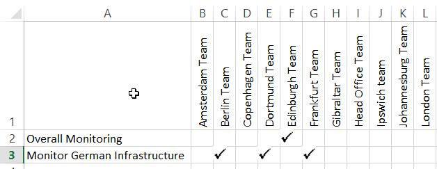Excel Tick Matrix